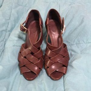 J.Crew woven brown leather stacked heel sandals